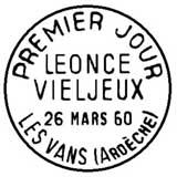 Oblitération 1er jour à Les Vans et La Rochelle le 26 mars 1960
