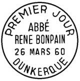 Oblitération 1er jour à Dunkerque le 26 mars 1960