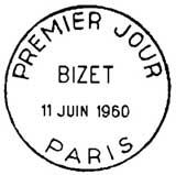 Oblitération 1er jour à Paris le 11 juin 1960