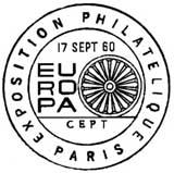 Oblitération 1er jour à Paris et Strasbourg le 17 septembre 1960