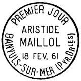 Oblitération 1er jour à Banyuls-sur-Mer le 18 février 1961
