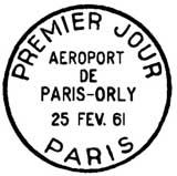 Oblitération 1er jour à Paris le 25 février 1961