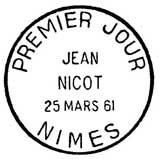 Oblitération 1er jour à Nimes le 25 mars 1961