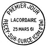 Oblitération 1er jour à Recey-sur-Ource le 25 mars 1961