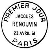 Oblitération 1er jour à Paris le 22 avril 1961