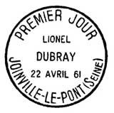 Oblitération 1er jour à Joinville-le-Pont le 22 avril 1961