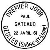 Oblitération 1er jour à Ozolles le 22 avril 1961