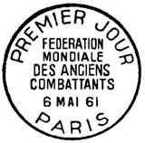 Oblitération 1er jour à Paris le 6 mai 1961