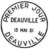 Oblitération 1er jour à Deauville le 13 mai 1961