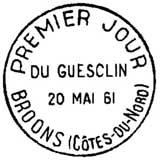 Oblitération 1er jour à Broons le 20 mai 1961