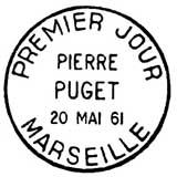Oblitération 1er jour à Marseille le 20 mai 1961