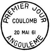 Oblitération 1er jour à Angoulème le 20 mai 1961