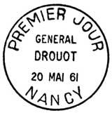 Oblitération 1er jour à Nancy le 20 mai 1961