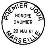 Oblitération 1er jour à Marseille et Paris le 20 mai 1961