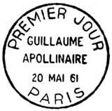 Oblitération 1er jour à Paris le 20 mai 1961