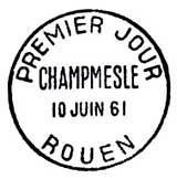 Oblitération 1er jour à Rouen le 10 juin 1961