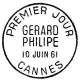 Oblitération 1er jour à Cannes le 10 juin 1961
