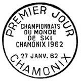 Oblitération 1er jour à Chamonix le 27 janvier 1962