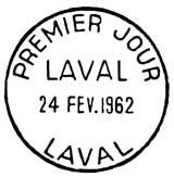 Oblitération 1er jour à Laval le 24 février 1962