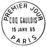 Oblitération 1er jour à Paris le 15 janvier 1965