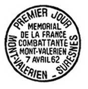 Oblitération 1er jour au Mont-Valérien le 7 avril 1962