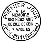 Oblitération 1er jour à L'ile de Sein le 7 avril 1962
