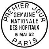 Oblitération 1er jour à Paris le 5 mai 1962