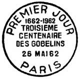 Oblitération 1er jour à Paris le 26 mai 1962