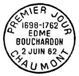Oblitération 1er jour à Chaumont le 2 juin 1962