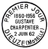 Oblitération 1er jour à Dieuze le 2 juin 1962