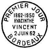 Oblitération 1er jour à Bordeaux le 2 juin 1962