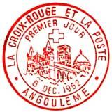 Oblitération 1er jour à Angoulème le 8 décembre 1962