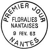 Oblitération 1er jour à Nantes le 9 février 1963