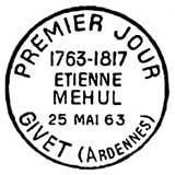 Oblitération 1er jour à Givet le 23 février 1963
