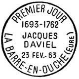 Oblitération 1er jour à Saint-André d'Hébertot le 25 mai 1963