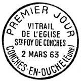 Oblitération 1er jour à Couche-en-Ouche le 2 mars 1963