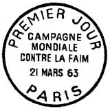 Oblitération 1er jour à Paris le 22 mars 1963