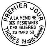 Oblitération 1er jour à Trônes et Thoren-Glières le 23 mars 1963