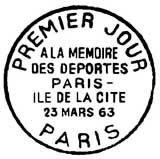 Oblitération 1er jour à Paris le 23 mars 1963