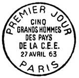 Oblitération 1er jour à Paris le 27 avril 1963