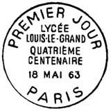 Oblitération 1er jour à Paris le 18 mai 1963