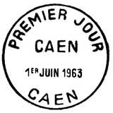 Oblitération 1er jour à Caen le 1 juin 1963