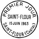 Oblitération 1er jour à Saint-Flour le 15 juin 1963