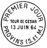 Oblitération 1er jour à Provins le 13 juin 1964