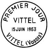 Oblitération 1er jour à Vittel le 15 juin 1963