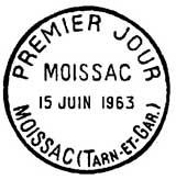 Oblitération 1er jour à Moissac le 15 juin 1963