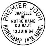 Oblitération 1er jour à Ronchamp le 13 juin 1964