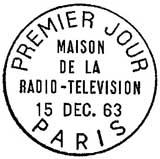 Oblitération 1er jour à Paris le 15 décembre 1963