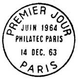 Oblitération 1er jour à Paris le 14 décembre 1963