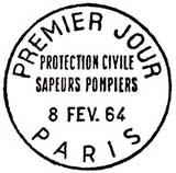 Oblitération 1er jour à Paris le 8 février 1964